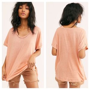 FREE PEOPLE Under The Sun Oversized Tee Peach Pit